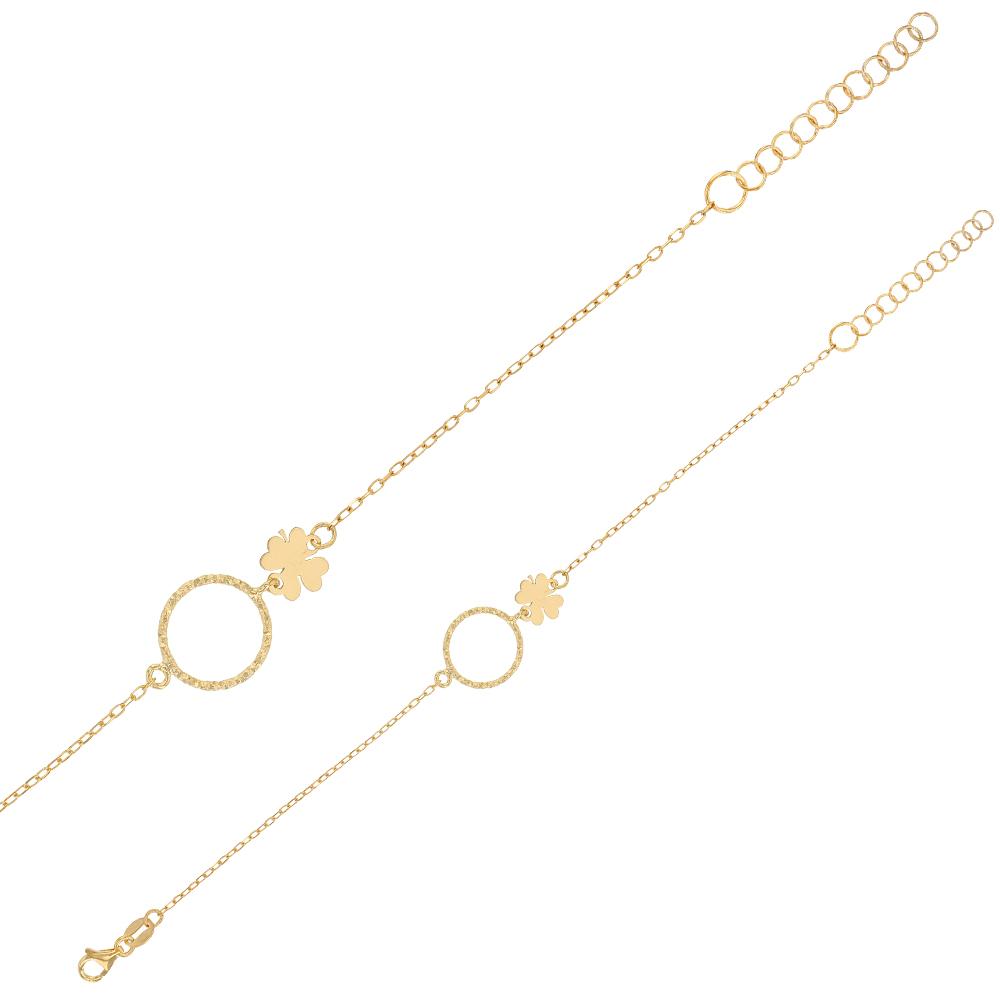 bracelet avec cercle diamant et tr fle en argent 925 1000 dor laval europe. Black Bedroom Furniture Sets. Home Design Ideas