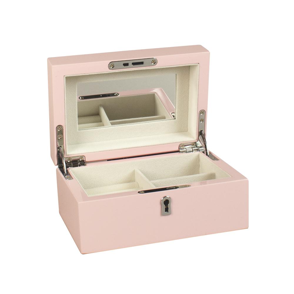 coffre bijoux en bois laqu rose p le avec miroir. Black Bedroom Furniture Sets. Home Design Ideas