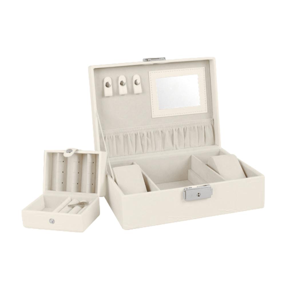 coffre bijoux gain synth tique blanc cass aspect lisse. Black Bedroom Furniture Sets. Home Design Ideas