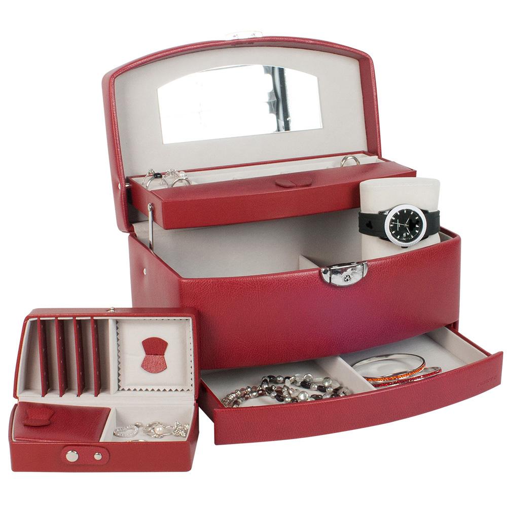 coffre bijoux gain synth tique grain avec kit de voyage et tiroir automatique laval europe. Black Bedroom Furniture Sets. Home Design Ideas