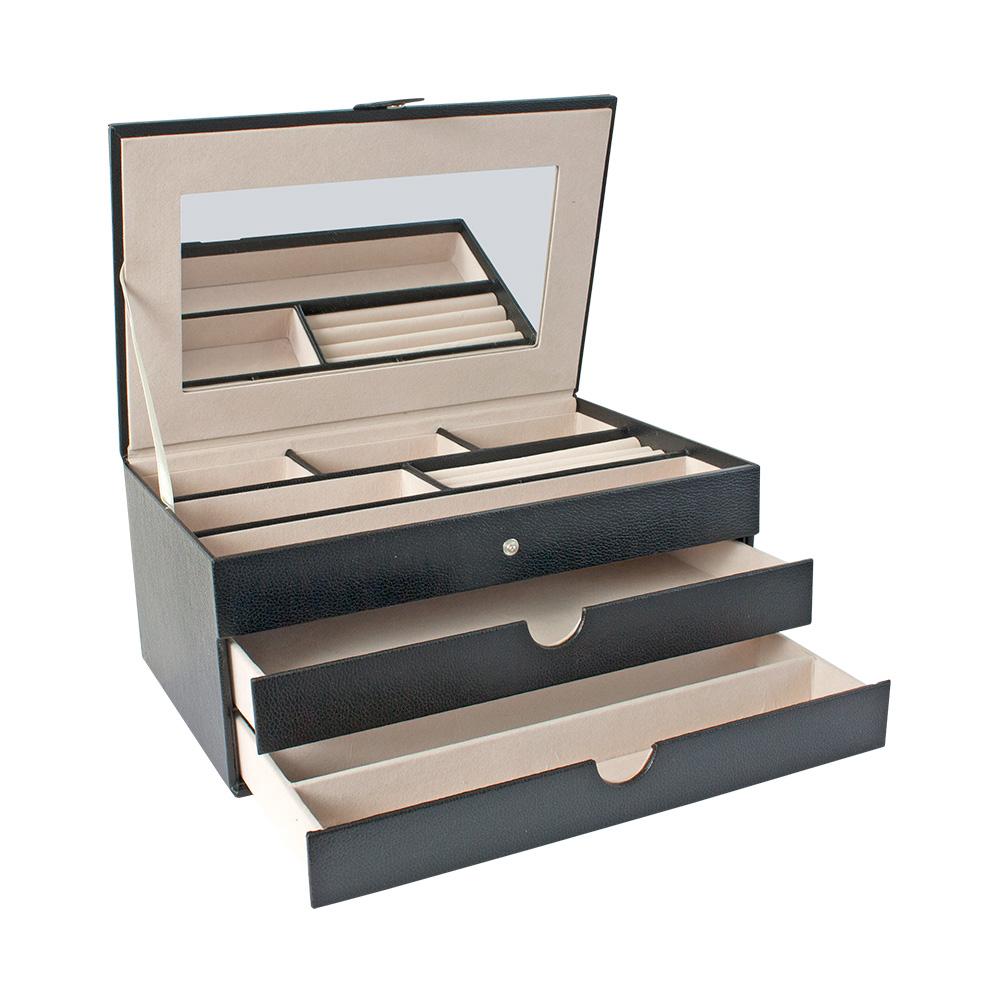 coffre bijoux gain synth tique noir aspect grain. Black Bedroom Furniture Sets. Home Design Ideas
