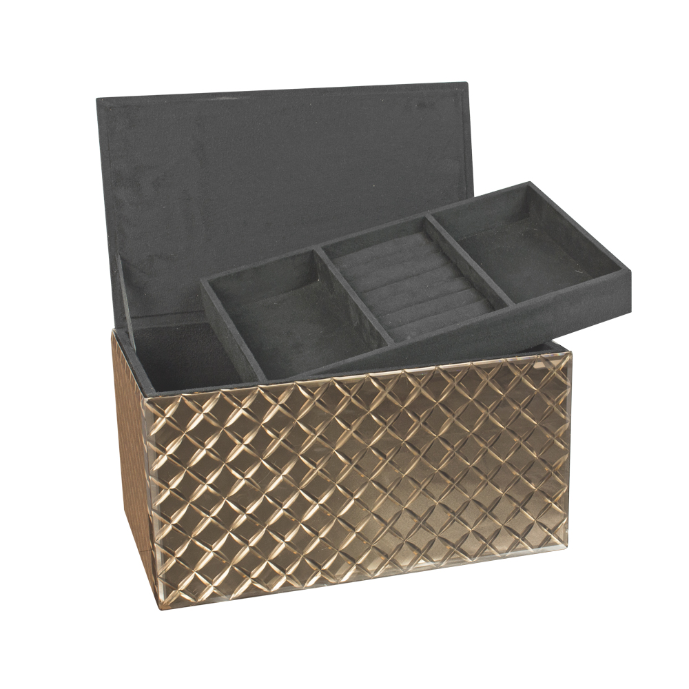 coffre bijoux grand mod le miroir bronze motif biseaut. Black Bedroom Furniture Sets. Home Design Ideas