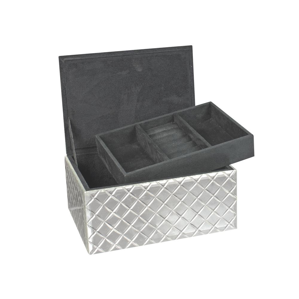 coffre bijoux miroir argent motif biseaut laval europe. Black Bedroom Furniture Sets. Home Design Ideas