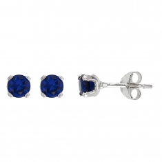 9CT GOLD PLATED SILVER BLUE SAPPHIRE EARRING /& PENDANT SET