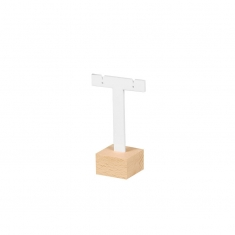 White, matt finish PMMA display stand for pair of earrings on beech wood base