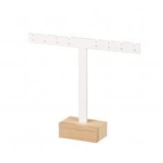 White, matt finish PMMA stand for 4 pairs of earrings on beech wood base - 12cm