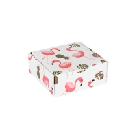 Card ring or earrings box with flamingo, pineapple and jungle design