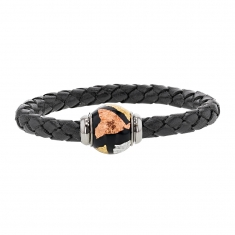 Aniline finish black plaited cowhide bracelet with magnetic clasp and enamelled steel bead - 19cm