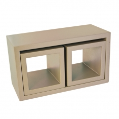 Display volumes, rectangle and 2 squares in satin-finish taupe painted wood
