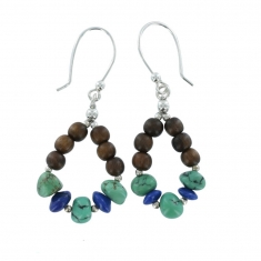 Earrings with natural stones, lapis lazuli, turquoise and ebony on sterling silver hook wires