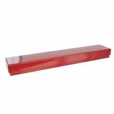 Glossy finish red card bracelet box with white man-made foam insert
