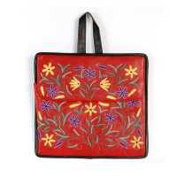 Hand embroidered red goat skin tablet carry case