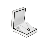 Plastic jewellery presentation box sheathed in white paper with black edging