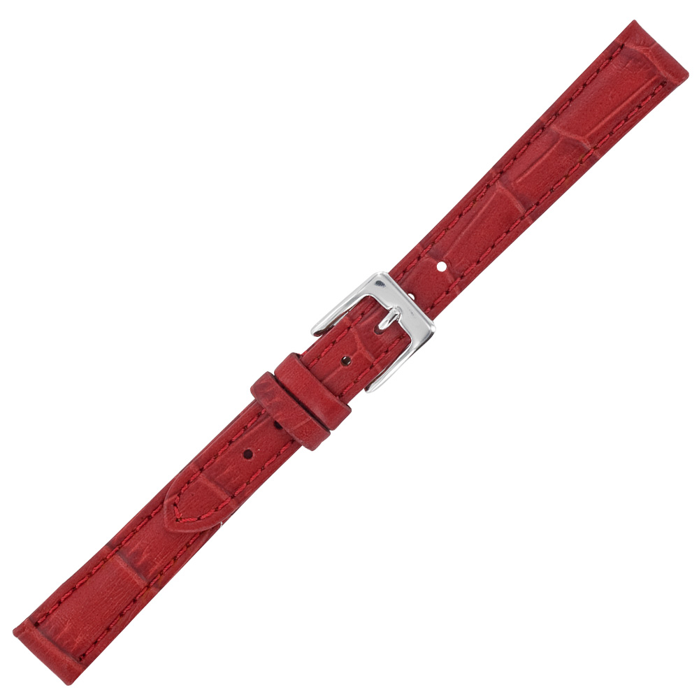 Red cowhide watch strap with embossed crocodile finish, split leather lining and steel buckle