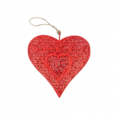 Red painted metal heart to hang with lace-cut design and opening