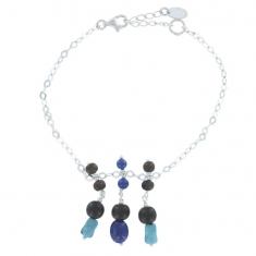 Sterling silver bracelet with ebony, lapis lazuli and turquoise stones