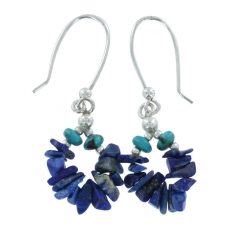 Sterling silver earrings with genuine turquoise and lapis lazuli