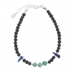 Turquoise, ebony and lapis lazuli bracelet with sterling silver clasp