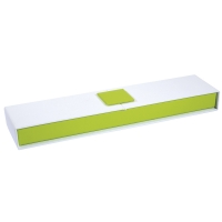 White and lime green card jewellery presentation box with magnetic seal