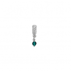 Emerald green coloured crystal on a rhodium plated sterling silver pendant stopper