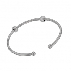 Flexible bracelet for Baci Belli beads and stoppers, rhodium plated sterling silver screw-on ends