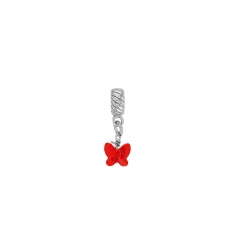 Rhodium plated sterling silver red crystal butterfly stopper pendant