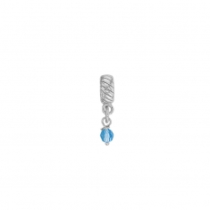 Rhodium plated sterling silver stopper pendant set with a pale blue crystal