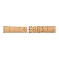 Beige full grain alligator finish, pigmented cowhide leather padded watch strap, steel buckle