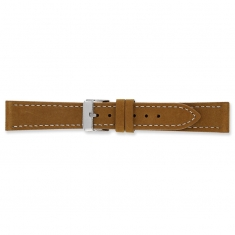 Beige, velvet finish split leather watch strap with steel buckle and contrast stitching