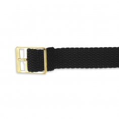 Black plaited Perlon watch strap with gold coloured buckle sold individually