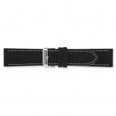 Black split leather watch strap with contrast stitching and steel buckle