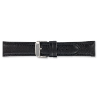 Black split leather watch strap with embossed grain finish and steel buckle