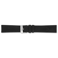Black, velvet finish split leather watch strap with cowhide lining, steel buckle