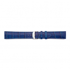 Blue full grain alligator finish, pigmented cowhide leather padded watch strap, steel buckle