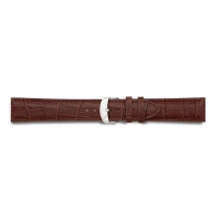 Brown full grain alligator finish, pigmented cowhide leather padded watch strap, steel buckle