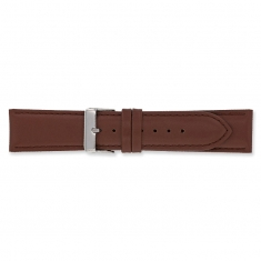 Brown genuine cowhide leather watch strap with steel buckle and split leather lining
