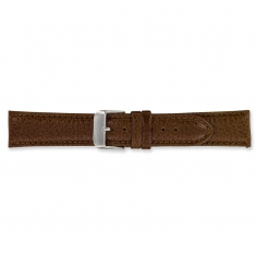 Brown split leather watch strap with embossed grain finish and steel buckle