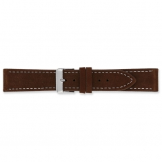 Brown split leather watch strap with steel buckle