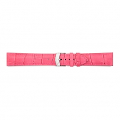 Fuchsia full grain alligator finish, pigmented cowhide leather padded watch strap, steel buckle