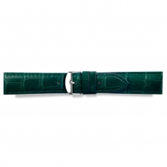 Full grain alligator finish, green pigmented cowhide leather padded watch strap, steel buckle