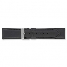 Genuine cowhide leather black watch strap, coordinated stitching and steel buckle