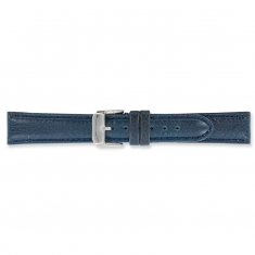 Navy blue split leather watch strap with embossed grain finish and steel buckle
