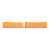 Orange full grain alligator finish, pigmented cowhide leather padded watch strap, steel buckle