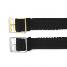 Pack of 12 black plaited nylon watch straps 16, 18, 20mm