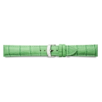 Pigmented green full grain alligator finish cowhide leather padded watch strap, steel buckle