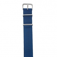 Plain blue man-made NATO watch strap with a steel buckle