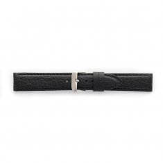 Premium quality black cowhide leather watch strap, coordinated stitching, steel buckle