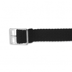 Black plaited Perlon watch strap with chrome plated buckle sold individually