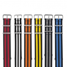 Pack of 5 assorted striped NATO man-made watch straps with steel buckle