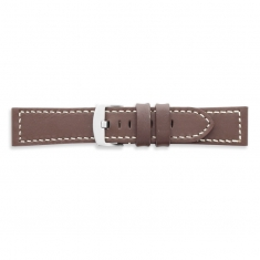Premium quality brown cowhide leather watch strap, contrast stitching, steel buckle